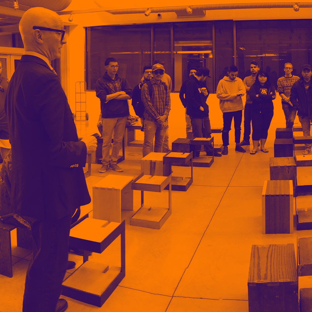 School of Architecture director Rob Miller and students at the Sundt Gallery