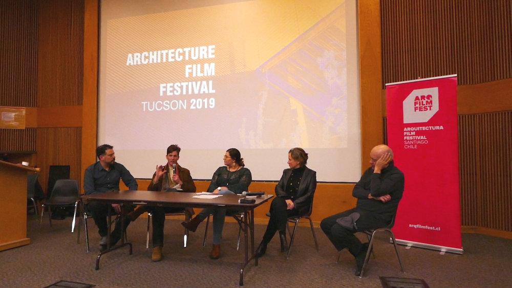 Post screening discussion, Saturday January 26, 2019.  Miguel Contreras, Ben Lepley, Jasmin Guzman, Elena Canovas and Dan Hoffman.