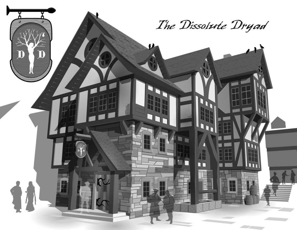 The Dissolute Dryad, finest tavern in Riverfall. Adobe Illustrator.