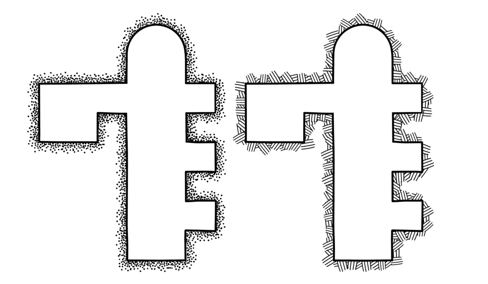 Scatter Brushes: Stipple (left) and Hatch (right)
