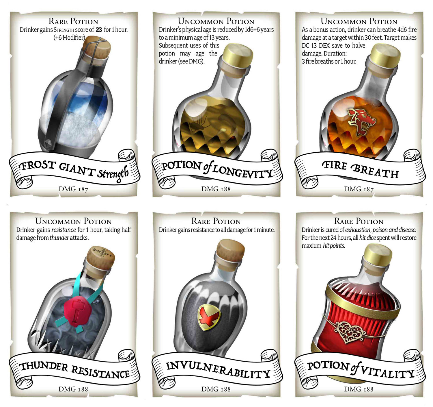 Potion Cards for 5e — Dungeon Master's Guide potions
