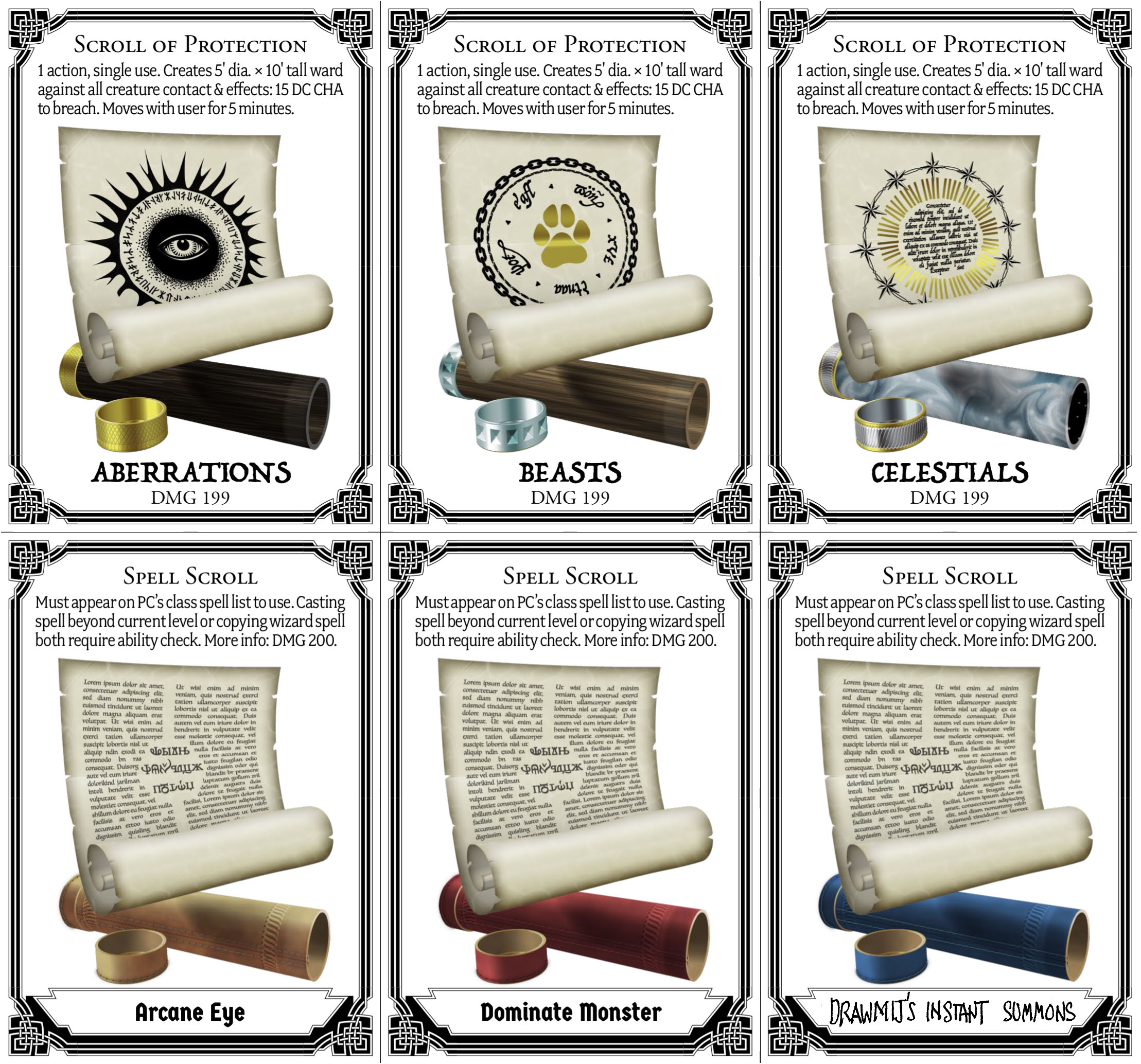 graphic relating to 5e Spell Cards Printable called Scroll Playing cards for DD 5e CryptoCartographer