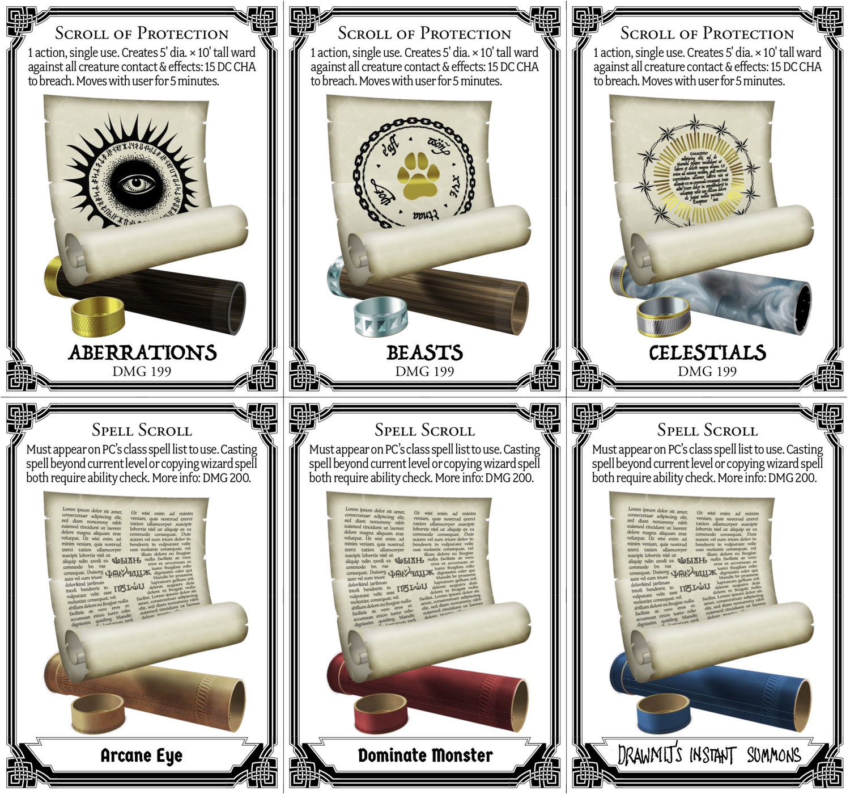 Scroll Cards for D&D 5e — CryptoCartographer