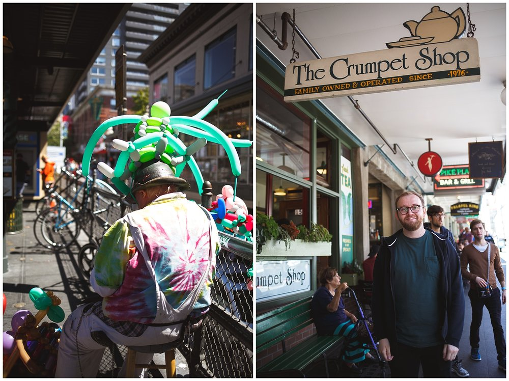 pike place, seattle, a little exploring - found a balloon artist, and our little brit