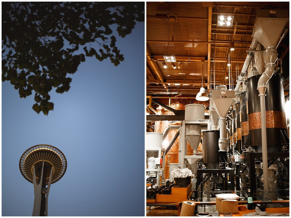 Space needle in Seattle, and the Starbucks hub
