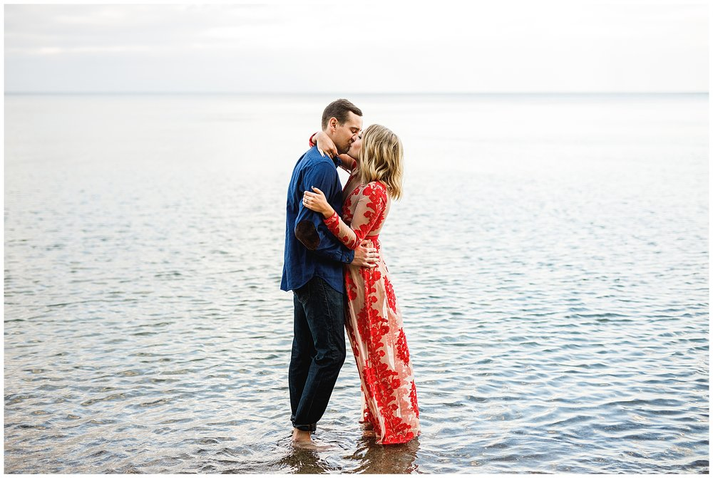Lake Michigan Engagement Session Milwaukee Red Dress - Chelsea Matson Photography
