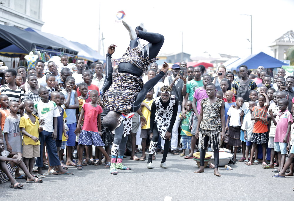 Acrobat performers at Chale Wote Festival
