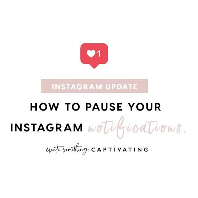 INSTAGRAM UPDATE: Did you know you can now hit pause on push notifications? Instagram's latest update lets you take a break for 15 minutes, 1 hour, 2 hours, 4 hours, or even 8 hours! (For step-by-step instructions swipe right 📲) • This feature is perfect for when you're running low on battery, in a meeting, when you're handing your phone to a co-worker / your boss, or if you just want to take a break from Instagram chatter. The best part is, after your break is done, you'll be able to see all of your notifications when you open the app. • What do you think of this latest update? 👍🏽 or 👎🏽 • Will you use it? If yes, how do you plan to take advantage of this new tool? - Luisa 💖 • • • • • • #InstagramTips #InstagramTipsforBusiness #InstagramMarketing #instagramstrategy #girlbosslife #createcultivate #brooklyn #smallbusinesslife #smallbusinesstips #sanfrancisco #dallas #brooklynheights #charleston #socialmediamarketingtips #socialmediacoach #socialmediaconsultant #socialmediaexpert