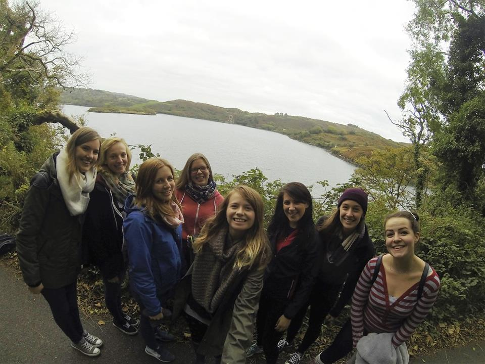 A group of us au pairs on a hike exploring one of the lough's