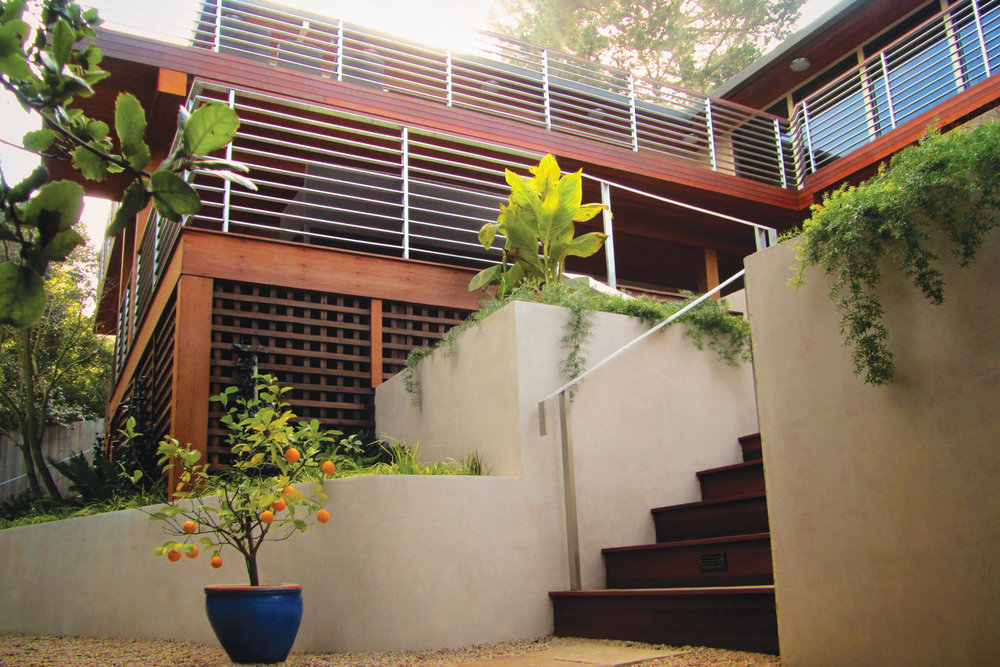 Stainless steel railings with ipe wood cap rail. Marin County, CA