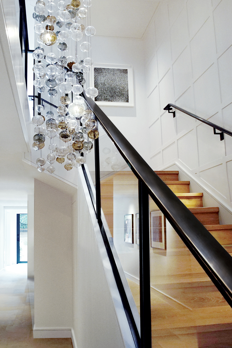 Pacific Heights Contemporary - FOUR-STORY CONTEMPORARY GLASS RAILING, GEOMETRIC PAINTED STAINLESS STEEL FRONT AND SIDE ENTRY GATES, PAINTED STAINLESS BALCONY RAILINGS, CUSTOM BLACKENED STEEL KITCHEN RANGE HOOD IN GUT-REMODEL OF PACIFIC HEIGHTS PRIVATE RESIDENCE