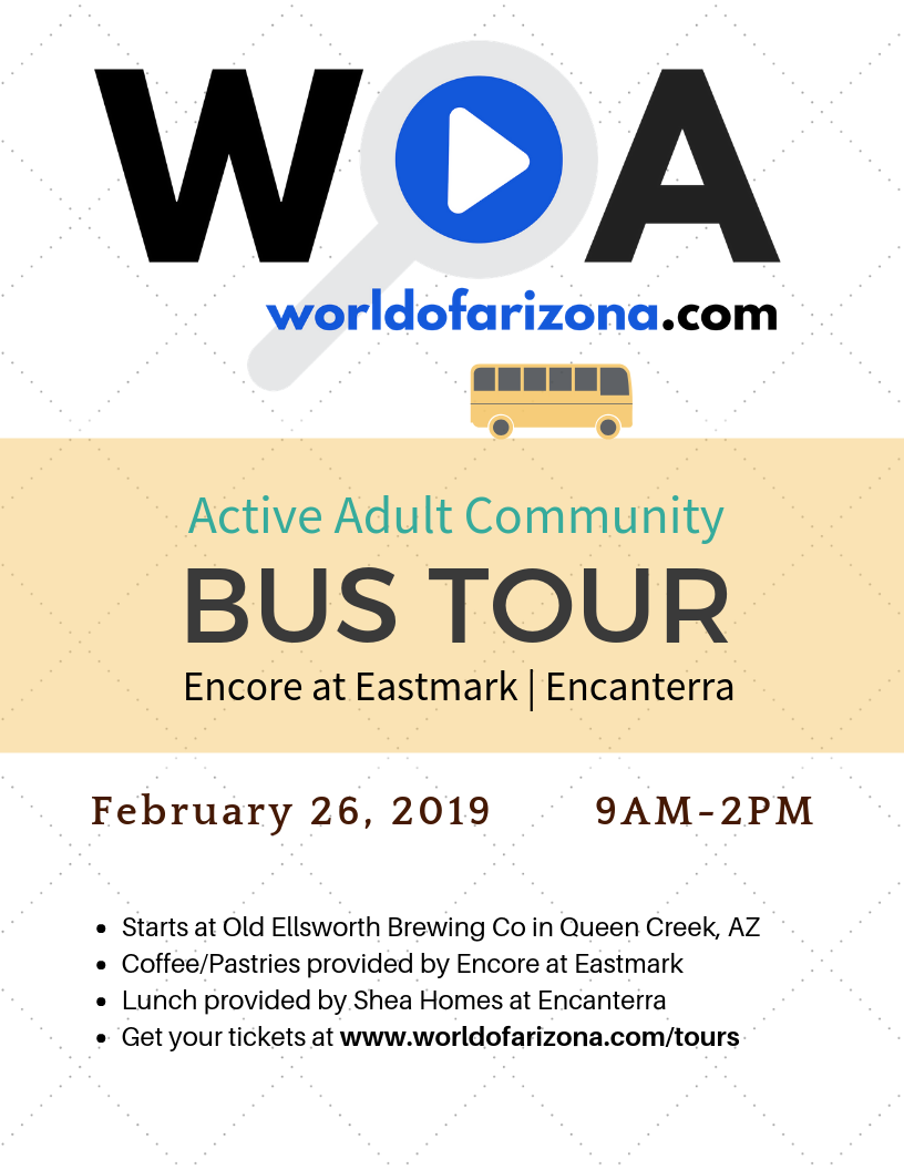 Feb 26, 2019 - Active Adult Real Estate Tour starts at Old Ellsworth Brewing Co and makes stops at Encore at Eastmark and Encanterra by Shea Homes.