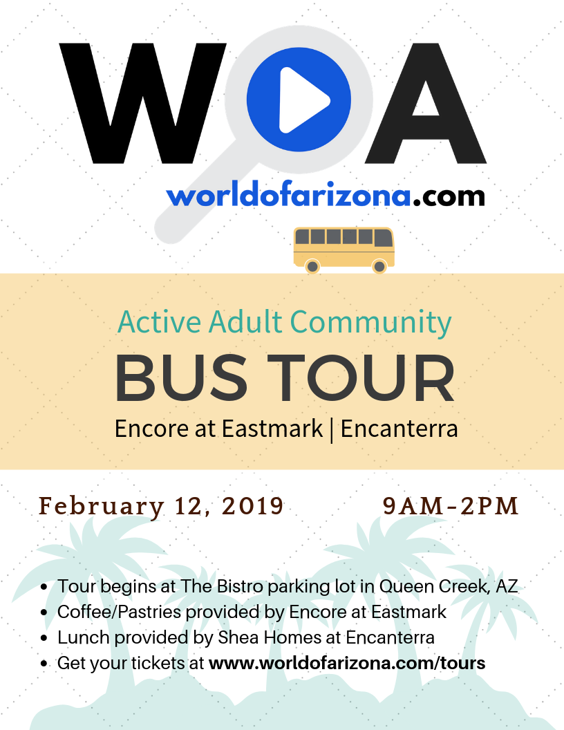 Feb 12, 2019 - Active Adult Real Estate Tour starts at The Queen Creek Bistro and makes stops at Encore at Eastmark and Encanterra by Shea Homes.