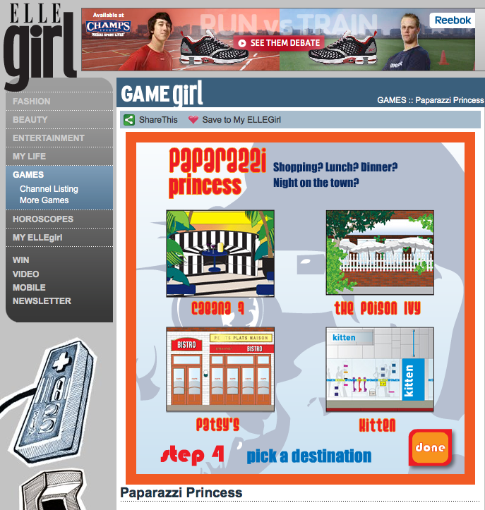 ELLEGIRL.COM PAPARAZZI PRINCESS ONLINE GAME ILLUSTRATIONS