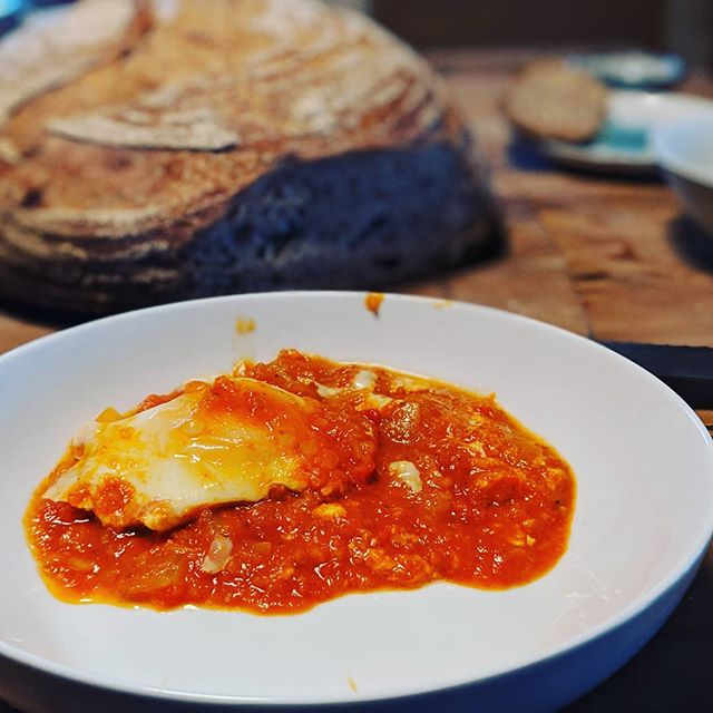 Shakshuka with our #pasturedeggs. #yum #sourdough by Salomon.