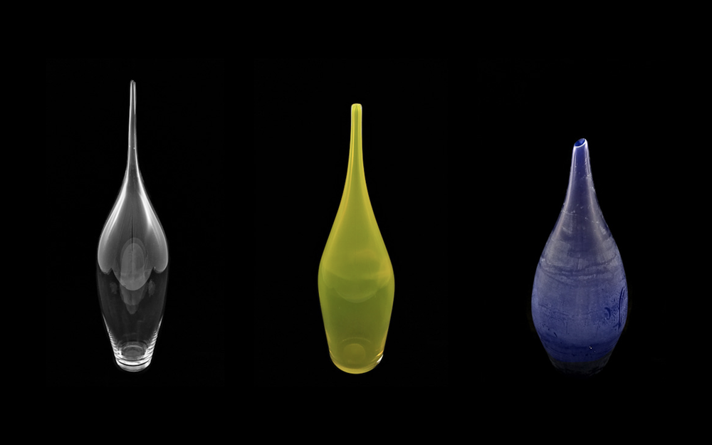 vesselier  (2013) blown glass  selections from a four-piece set of vessels that explored the process of color making off stiff white primers. this series was a solo project completed in the cressman center for visual arts at the hite art institute and was exhibited at flame run gallery.