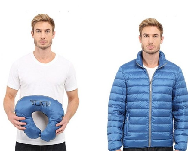 TUMI PAX collection - Neck Pillow converted to a travel Puffer Jacket
