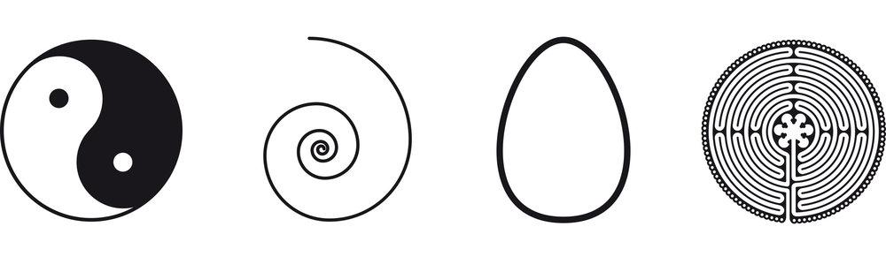 Yin and Yang, Spiral, Egg, Labyrinth
