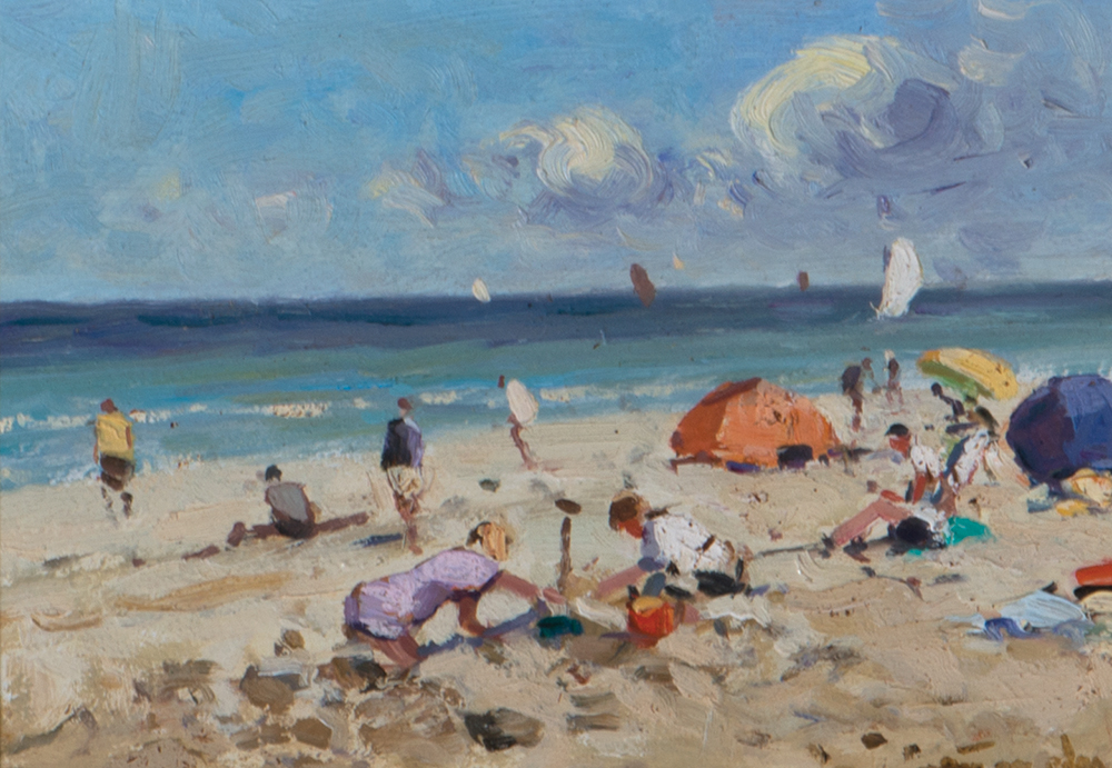 "Niek Van der Plas, (Dutch, b. 1954), Figures on Beach, Oil on Panel, 5"" x 7"" Actual, 12"" x 14"" Framed"