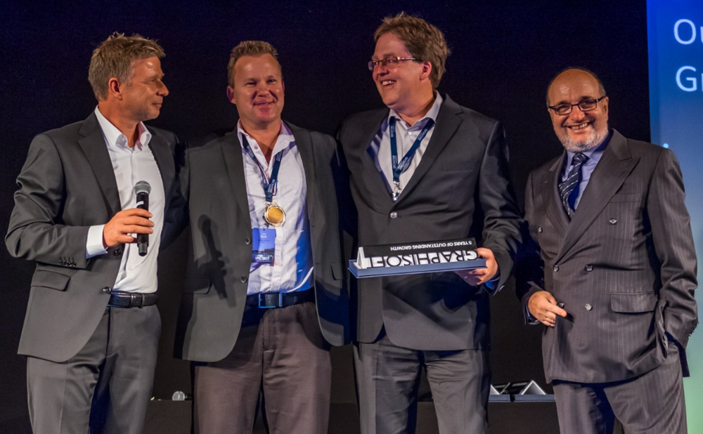 GRAPHISOFT CEO, Viktor Várkonyi; BIM6x Technical Director, Link Ellis; BIM6x Sales Director, Chris Clark; GRAPHISOFT Founder, Gábor Bojár