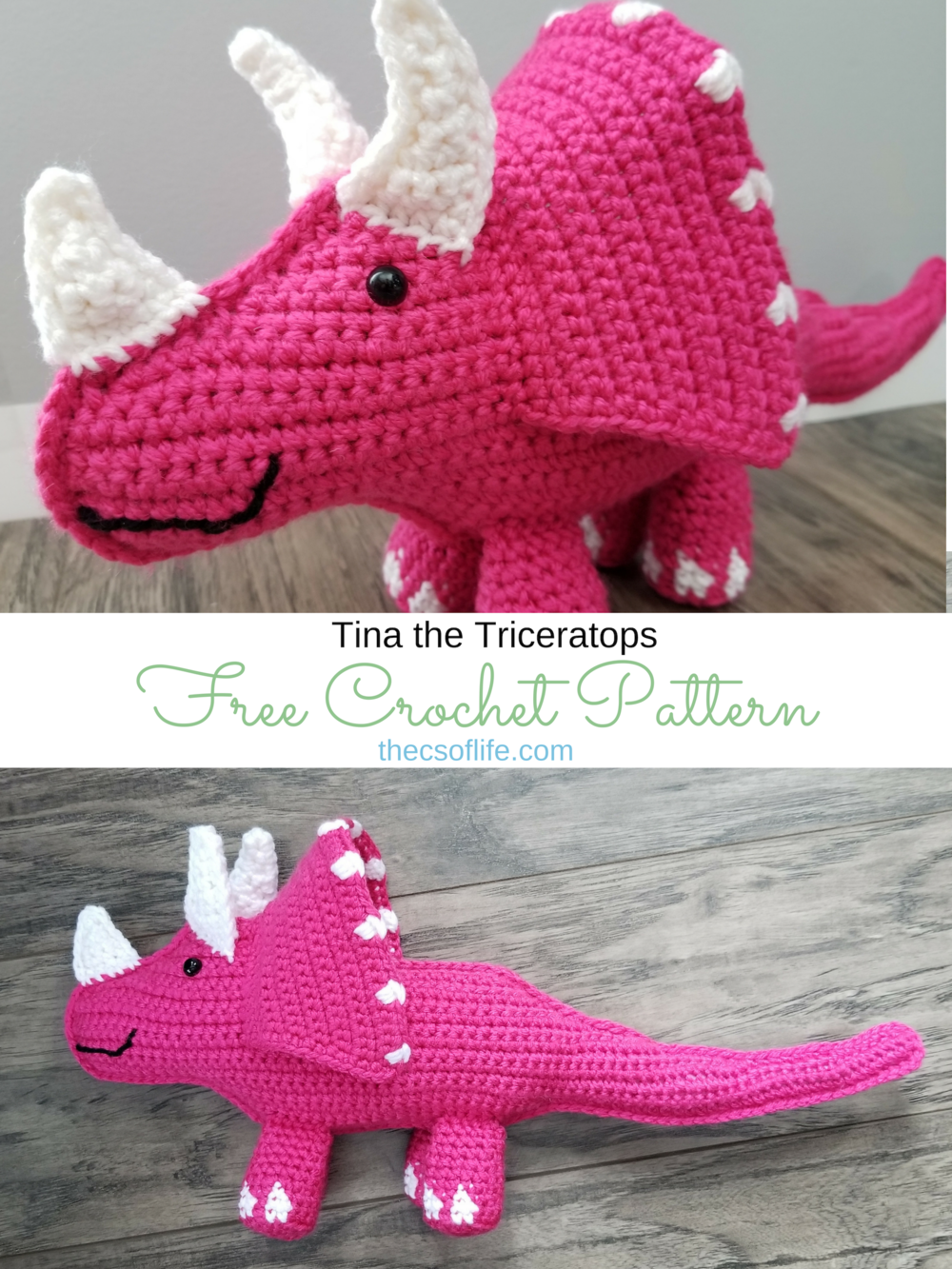 Tina the Triceratops - Free Crochet Pattern