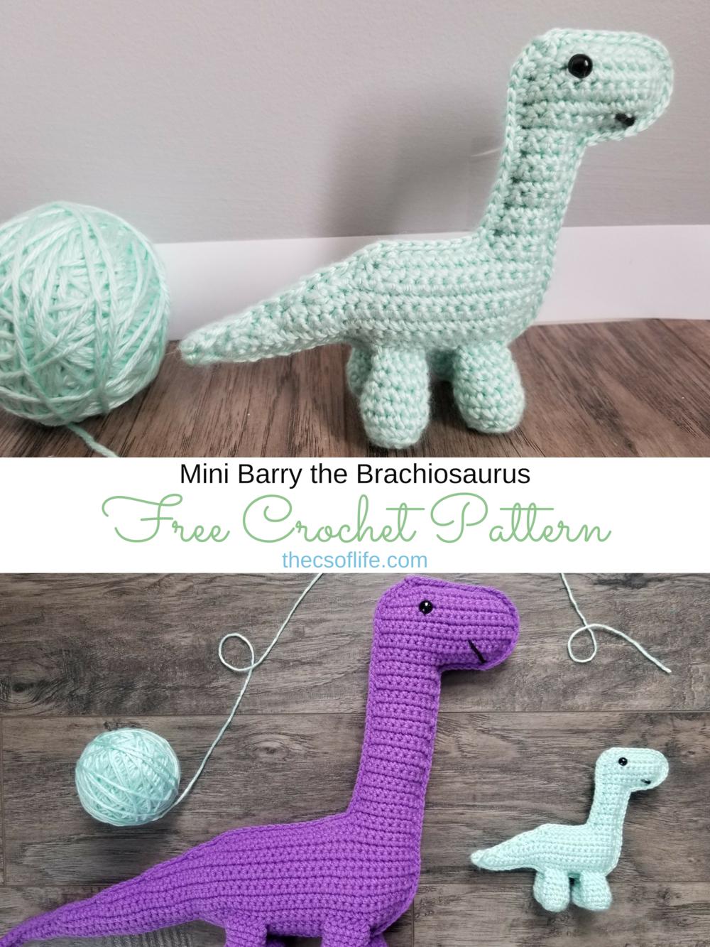 Mini Barry the Brachiosaurus - Free Crochet Pattern