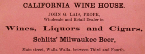 An 1889 newspaper ad for California Wine House.