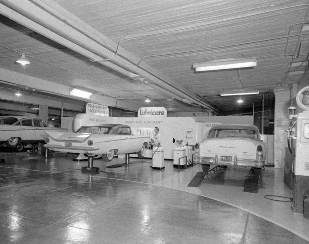 A garage was located on the second floor of the building where Sears resides now.