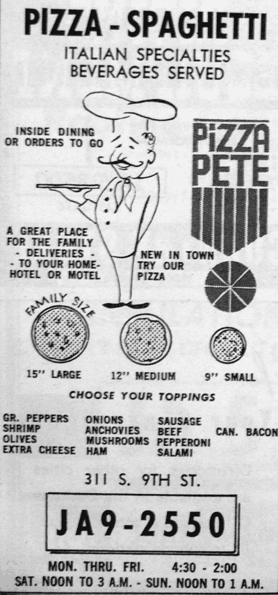 A Pizza Pete newspaper ad from 1967.