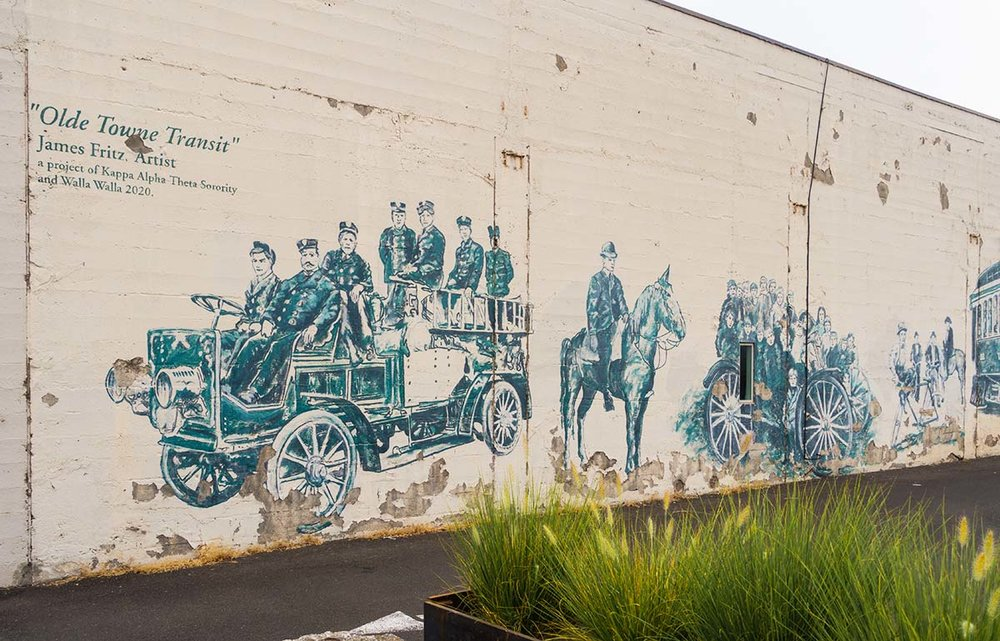"""The south side of the t.h.e Interior buiding features """"Olde Towne  Transit,"""" by James Fritz."""