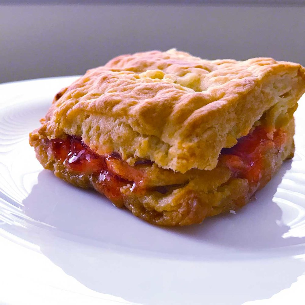 Biscuit with malt butter and jam