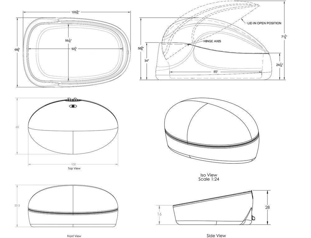 """Dimensions - EVO Interior / Length: 85"""" (2159) Width: 55"""" (1397) Exterior / Length: 106"""" (2692) Width: 67"""" (1701) Height: 56.5"""" (1435)ORB Interior / Length: 104"""" (2641) Width: 57"""" (1447) Exterior / Length: 108"""" (2743) Width: 66"""" (1676) Height: 50"""" (1270)"""