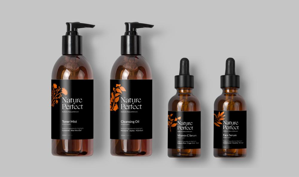 Graphic Design Example - Nature Perfect Skincare logo design and packaging design