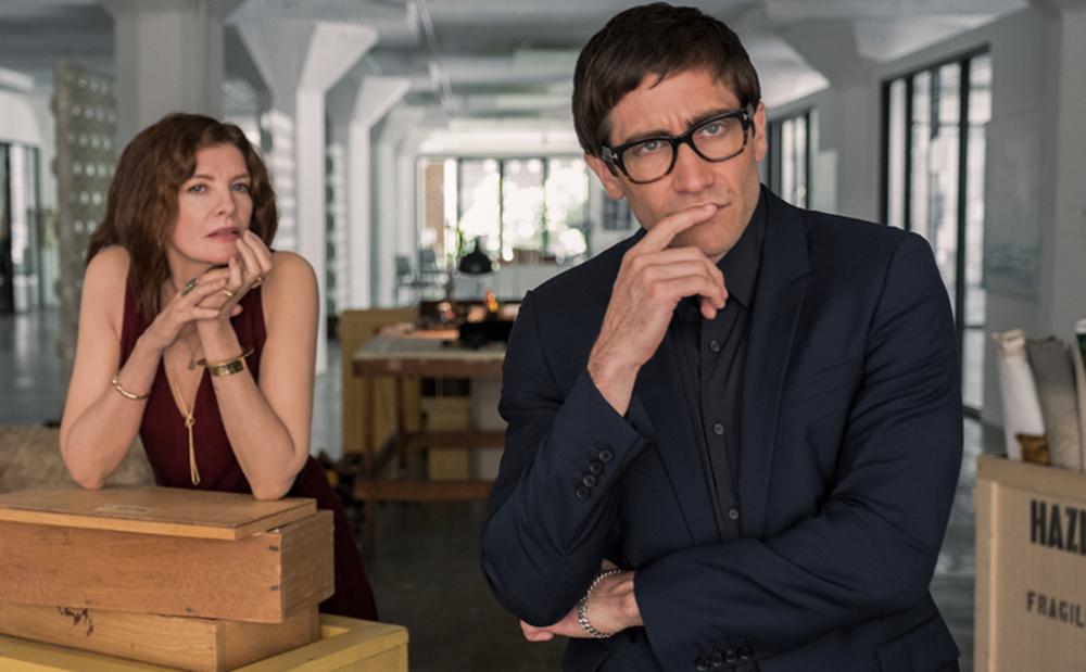 Rene Russo & Jake Gyllenhaal in  Velvet Buzzsaw , photo by Claudette Barius, courtesy of Netflix