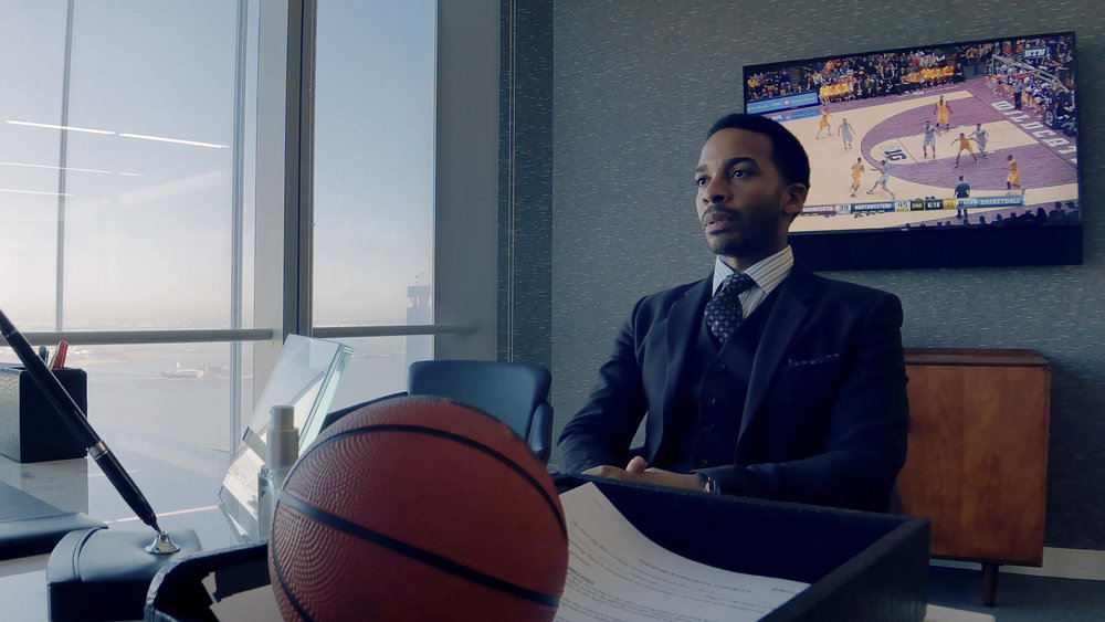 Andre Holland in  High Flying Bird , photo by Peter Andrews, courtesy of Netflix