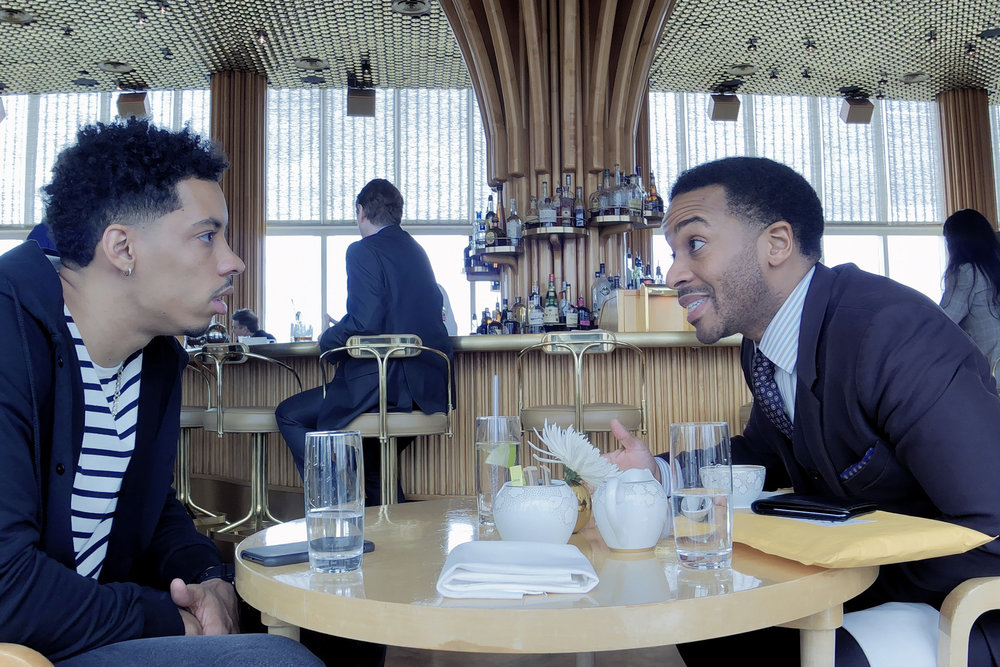 Andre Holland & Melvin Gregg in  High Flying Bird , photo by Peter Andrews, courtesy of Netflix
