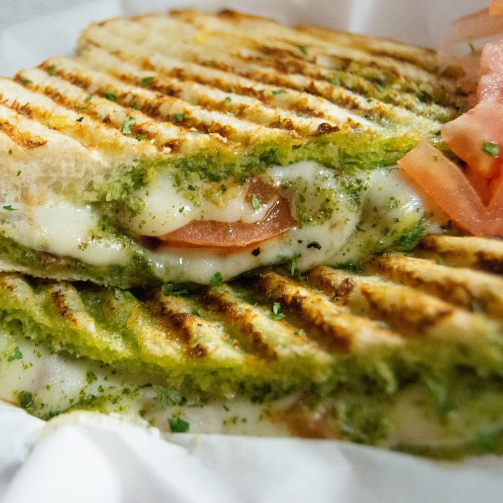 Pesto Melt - Sourdough Bread, Mozzarella Cheese, Tomato, Pesto Sauce