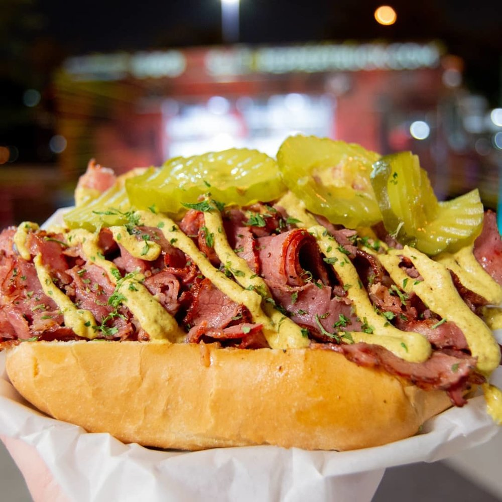 Pastrami Hoagie - Pastrami slices, Pickles, Deli Mustard on a French Roll