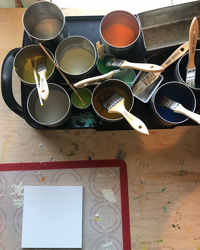 Blank canvas syndrome. Thus my need to paint more furniture. See my stories for my current project. . . . #artstudio #encausticpainting  #encaustic #chalkpaint #blankcanvas #artdisplay #artwall #artgallery