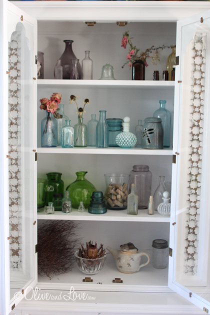 glass bottle display vintage