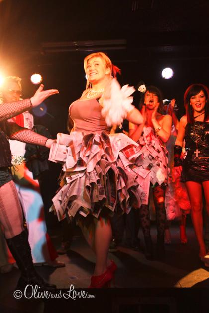 Potato Sack dresses and newspaper skirt veronica coleman