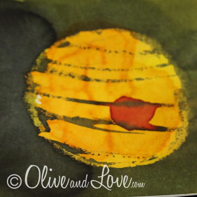 plastic wrap wax resist watercolor jupiter