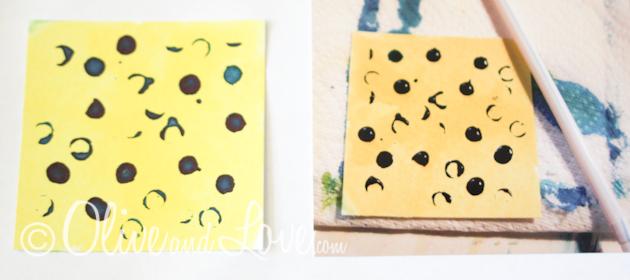straw technique watercolors dots