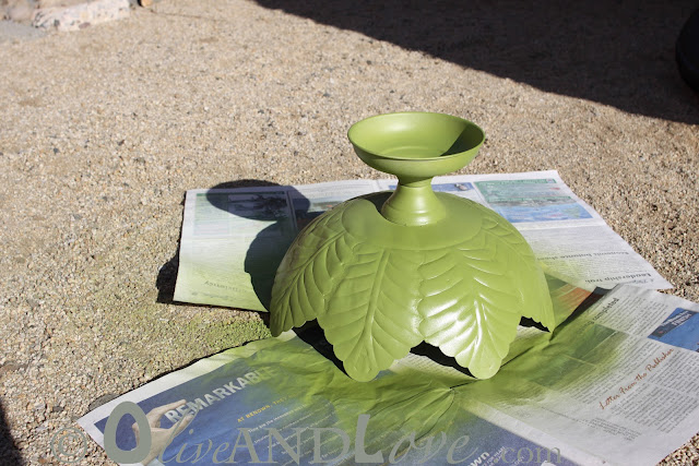 spray painting metal leaf bowl green