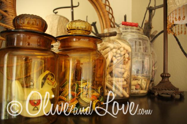 jar collection bottle caps, clothes pins, wine corks