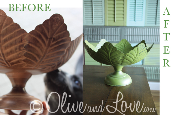 painted metal leaf bowl from thrift store olive and love
