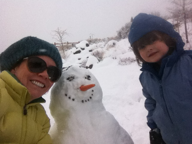 making snowman with kids