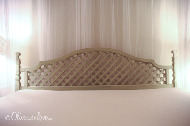 upcycled thrift store bed green