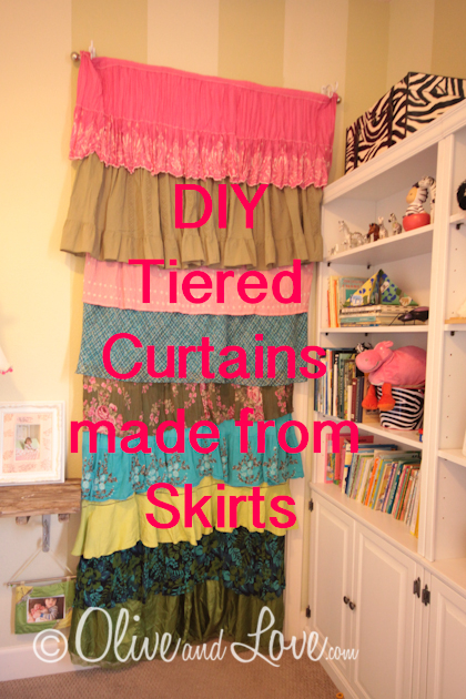 tiered curtains made from skirts