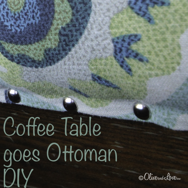 Coffee Table Ottoman DIY transformation upcycle